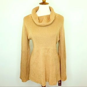 Style & Co Women's Camel Cowl Neck Tunic Sweater L